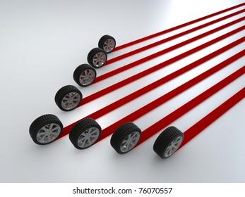 Car wheels creating a red stripes path