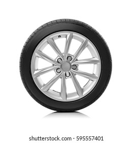 Car wheels isolated on a white background. - Shutterstock ID 595557401
