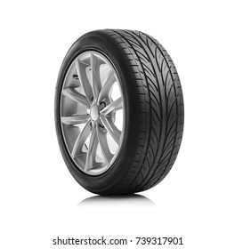 Car wheels isolated on a white background. - Shutterstock ID 739317901