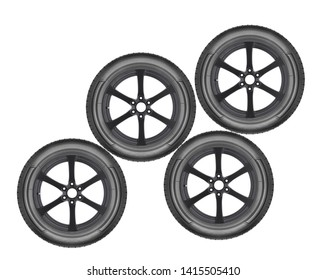 Car wheels on white background isolated in the closeup