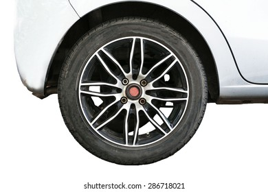 Car wheels on a white background