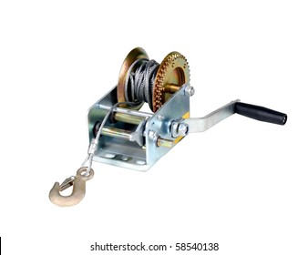 Car winch isolated over white background