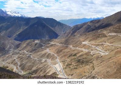 Car window scenery of Qinghai–Tibet railway in Tibet Autonomous Region, China. -
