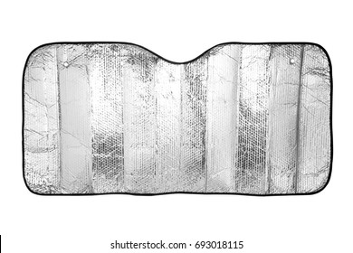 Car windshield sunshade isolated on white background