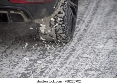car winter snow tire detail while turning