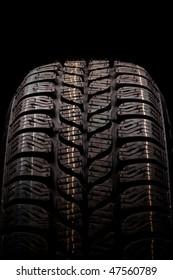 Car winter tire close up