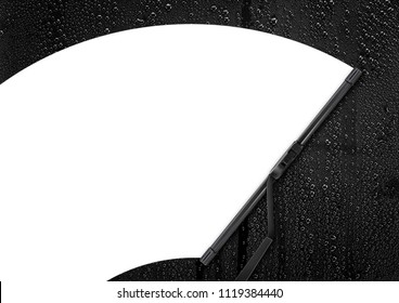 Car wiper cleaning rain drop on glass