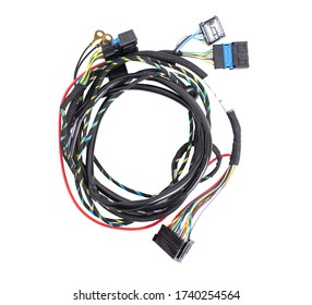 Car wiring with adapters and connectors on a white background, isolate, electrical contacts