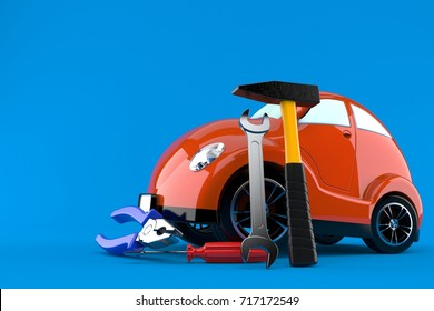 Car with work tools isolated on blue background. 3d illustration