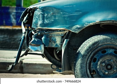 A car wreck after a frontal accident