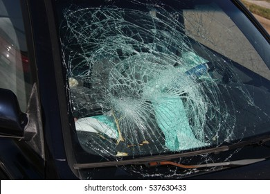 Car Wreck Shattered Windshield Close Up