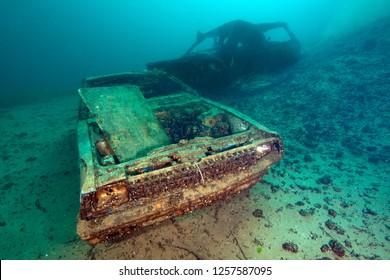 Car wreck underwater, Hemmoor, Germany
