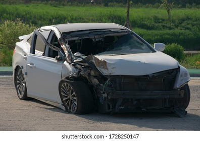 A car wrecked in a traffic accident. (Seoul, Korea. May 6, 2020)