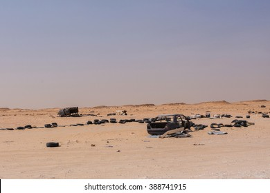 Car Wrecks in the no-man's land between Morocco and Mauritania