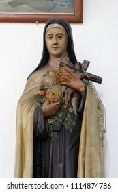 CARA, CROATIA - MARCH 22: Saint Teresa statue in the Saint Peter church in Cara, Korcula island, Croatia, on March 22, 2017.