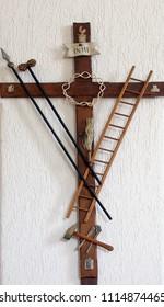 CARA, CROATIA - MARCH 22: Symbols of the Passion of Jesus Saint Peter church in Cara, Korcula island, Croatia, on March 22, 2017.