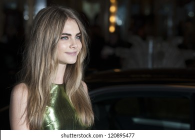 Cara Delevigne arriving for the British Fashion Awards 2012 at the Savoy Hotel, London. 27/11/2012 Picture by: Simon Burchell