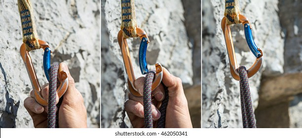 carabiner and climbing rope sequence