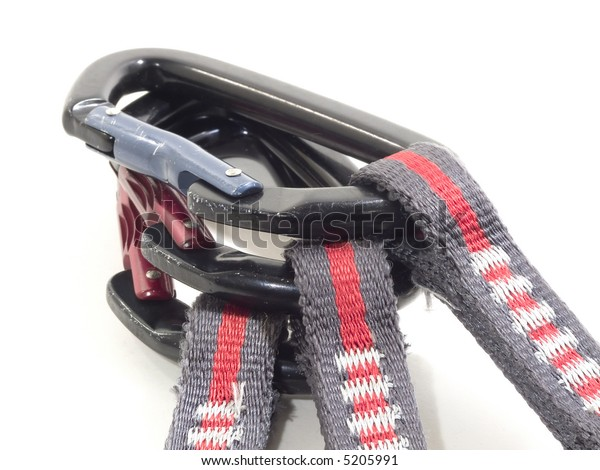 carabiner and express isoletad on white