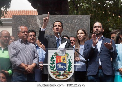 Caracas, Capital District / Venezuela - 01 25 2019: President of the National Assembly and Interim president of Venezuela Juan Guaidó speaking at a Town meeting in Caracas