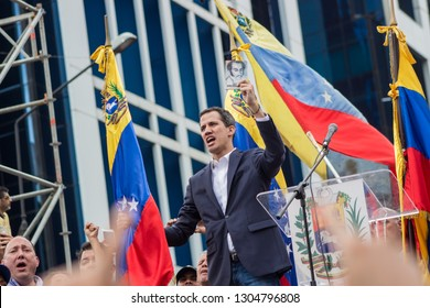 Caracas, Capital District/ Venezuela; 01-23-2019: Presidential Inauguration in Venezuela - Interim President Juan Guaidó Taking the Oath