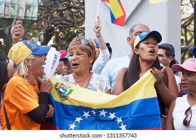 Caracas, Capital District / Venezuela - 02 02 2019: People protesting in Caracas against Nicolas Maduro and supporting interim president Juan Guaido