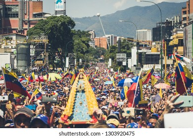 Caracas, Capital District  /Venezuela; 02/02/2019: Interim President Juan Guaidó - President of Venezuela - Protests in Venezuela