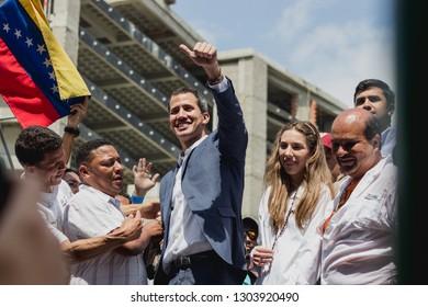 Caracas, Capital District  /Venezuela; 02/02/2019: Interim President Juan Guaidó - President of Venezuela - Protests in Venezuela