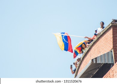 Caracas, Capital District/ Venezuela; 02-12-2019: Interim President of Venezuela Juan Guaido - Presenting humanitarian aid plan in Venezuela