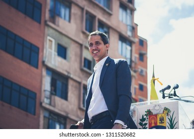 Caracas, Capital District/ Venezuela; 02-12-2019: Interim President of Venezuela Juan Guaido - Presenting humanitarian aid plan in Venezuela