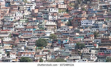 Caracas, Capital District / Venezuela - 03 15 2018: shantytown, slum, built along hillside city of Caracas, Caracas, Capital District, Venezuela, South America