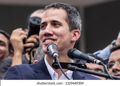 Caracas, Capital District /Venezuela; 03/04/2019: Interim President Juan Guaido - President of Venezuela - President arrives in Venezuela after international tour