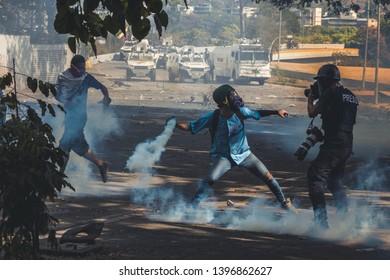 Caracas, Capital District /Venezuela; 05/01/2019: Protests in Venezuela against Nicolas Maduro's regime - Caused by Juan Guaido  military actions