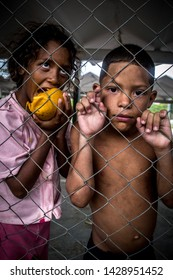 Caracas, Capital District / Venezuela 06-16-2019  Couple of street children roam the streets of Caracas