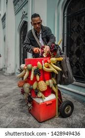 Caracas, Capital District / Venezuela 06-17-2019  Tizana seller on a street in the center of Caracas, dispatching a drink
