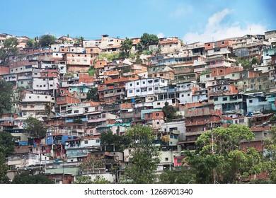 Caracas, Capital District / Venezuela - 11 17 2018: shantytown, slum, built along hillside city of Caracas, Caracas, Capital District, Venezuela, South America
