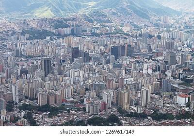 Caracas, Capital District / Venezuela - 11 21 2018: Aerial view of the city of Caracas, Caracas, Capital District, Venezuela, South America