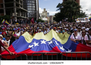 Caracas, Capital District/Venezuela; 01-23-2019:  Group of protesters shows their support for Juan Guaido. During his oath