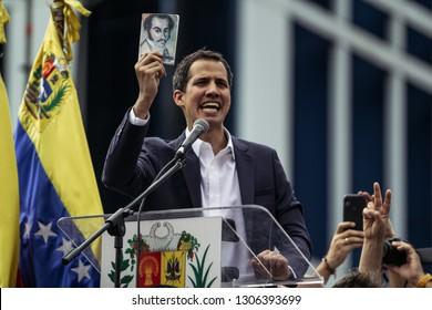 Caracas, Capital District/Venezuela; 01-23-2019:  The president of the national assembly, Juan Guaido, takes the oath as Interim President of Venezuela