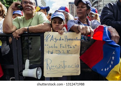 Caracas, Capital District/Venezuela; 02-12-2019: Rally in support of interim President of Venezuela Juan Guaido.