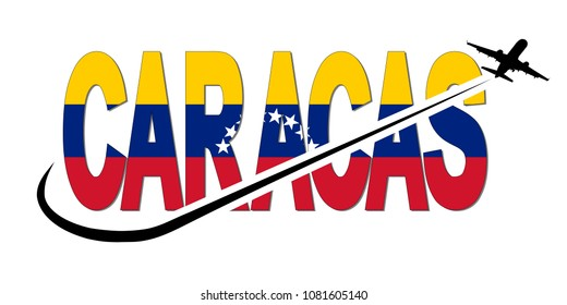 Caracas flag text with plane silhouette and swoosh illustration