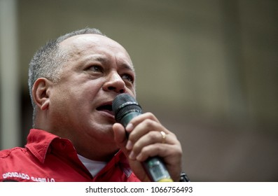 Caracas, Miranda, Venezuela. 04/11/2018. The former vice president of Venezuela and official leader Diosdado Cabello speaks in an act of support for the candidacy for the re-election of Nicolás Maduro