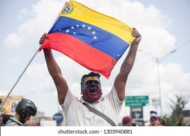 Caracas, Miranda/Venezuela - February 2nd 2019: Demonstrators rally in support of EU's decision to recognize Venezuela's National Assembly President Juan Guaido as the nation Interim President.