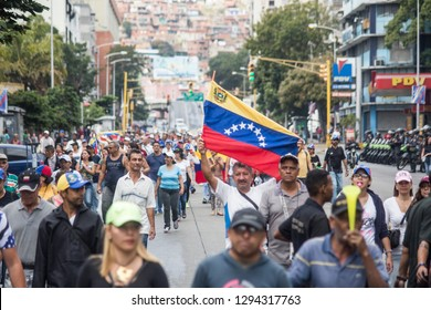 Caracas, Miranda/Venezuela - January 23rd 2019: People rally in support of Venezuelan National Assembly President Juan Guaido.
