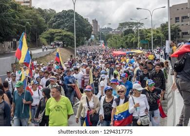 Caracas, Miranda/Venezuela - January 23rd 2019: People rally in support of Venezuelan National Assembly President Juan Guaido.