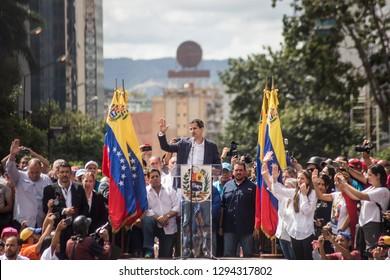 Caracas, Miranda/Venezuela - January 23rd 2019: President of Venezuelan National Assembly Juan Guaido talks to the people during a rally.