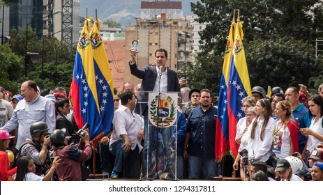 Caracas, Miranda/Venezuela - January 23rd 2019: President of Venezuelan National Assembly Juan Guaido talks to the people during a rally.