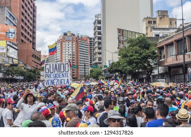 Caracas, Miranda/Venezuela - January 23rd 2019: People gather during rally in support of Venezuelan National Assembly President Juan Guaido.