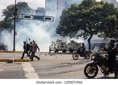 Caracas, Miranda/Venezuela - January 23rd 2019: Demonstrators clash with the police after attending rally in support of Venezuela's National Assembly President Juan Guaido.