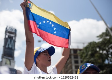 Caracas, VE (03/04/2019) - Venezuelan demonstrators gather at a local square to celebrate the succesful return of Interim President Juan Guaido after his South America tour.